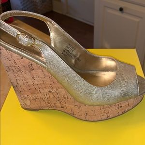 Gold Cork Wedges by Kenneth Cole